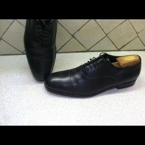 Giorgio Armani Black Leather Captoe Size 10 Men's